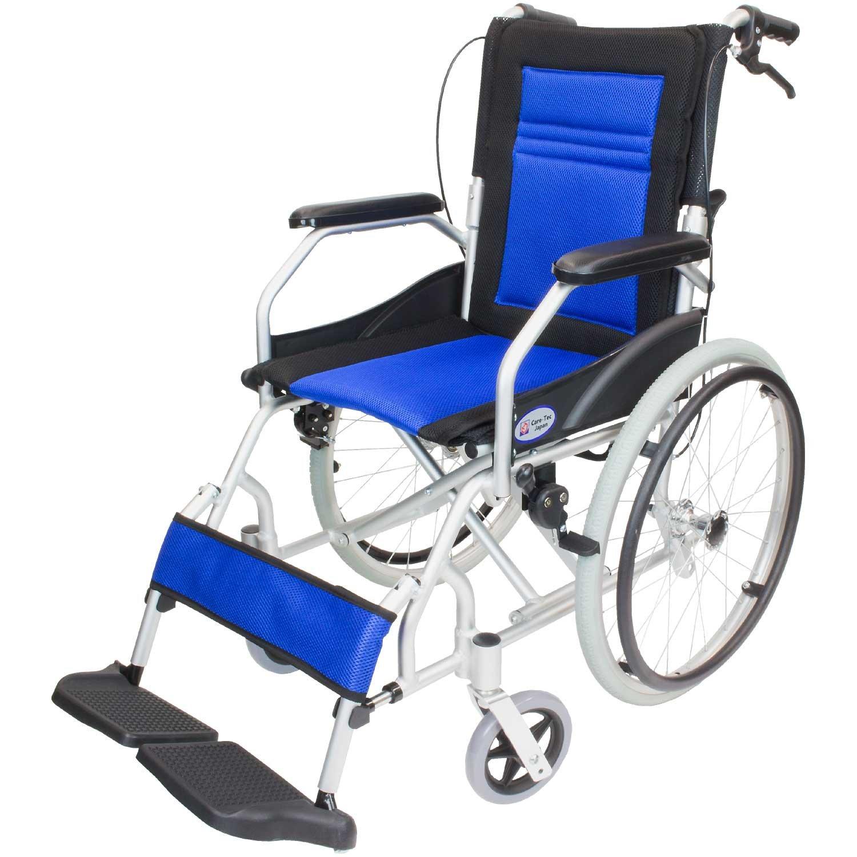 ケアテックジャパン 軽量 自走式アルミ製車椅子 CA-12SU ハピネスライト(ブルー) B01MSACOYJ ブルー ブルー