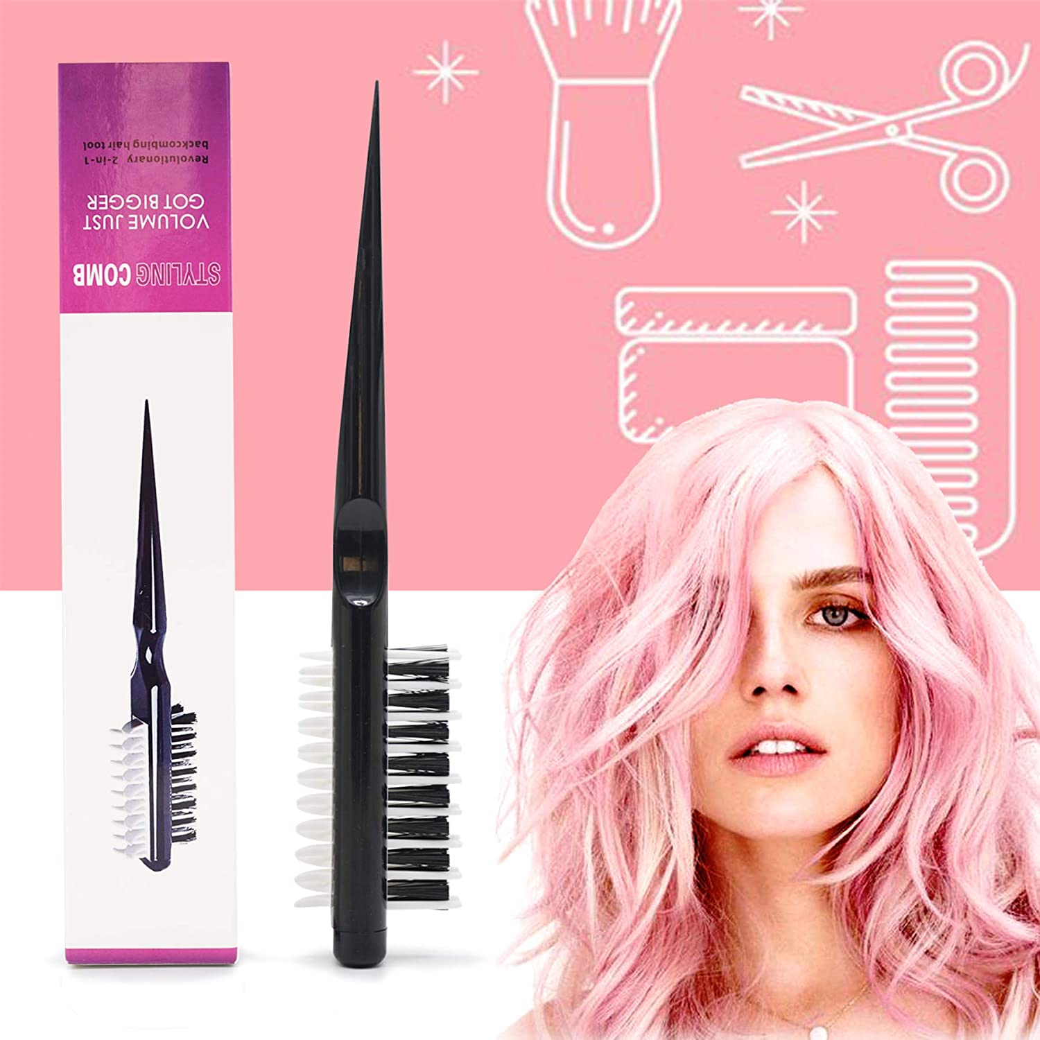 Hair Style Comb, Portable Hair Styling Comb, Styling Comb Brush Instant Hair Volumizer, Multifuncional Combing Brush with Shark Back Double-side Design, Hair Styling Tool for All Hair Types Women Men