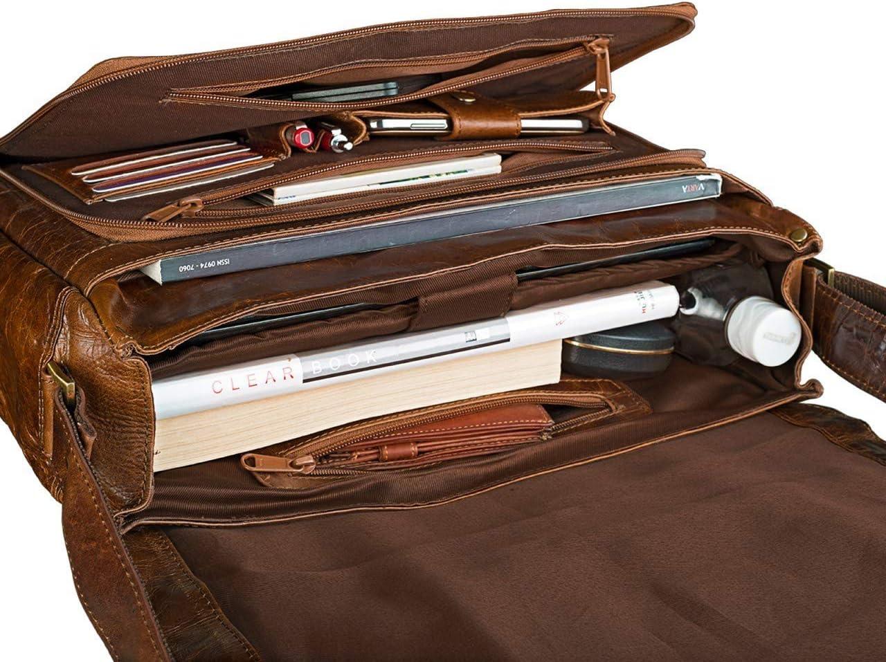 Couleur:Antique Marron STILORD Erik Vintage Sac /à l/Épaule en Cuir PC Portable 15,6 Pouces Sacoche Sac /à Bandouli/ère Besace Sac Messager