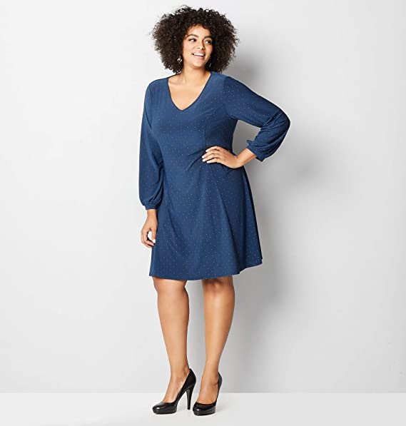 Avenue Women\'s Silver Dot Fit and Flare Dress, 30/32 Navy at ...