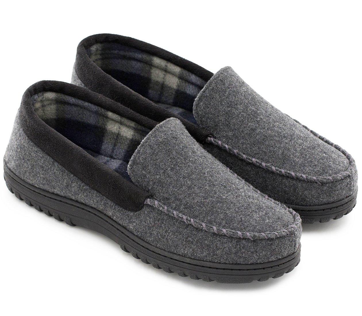 HomeTop Men's Indoor Outdoor Wool Micro Suede Moccasin Slippers House Shoes (44 (US Men's 11), Dark Gray)