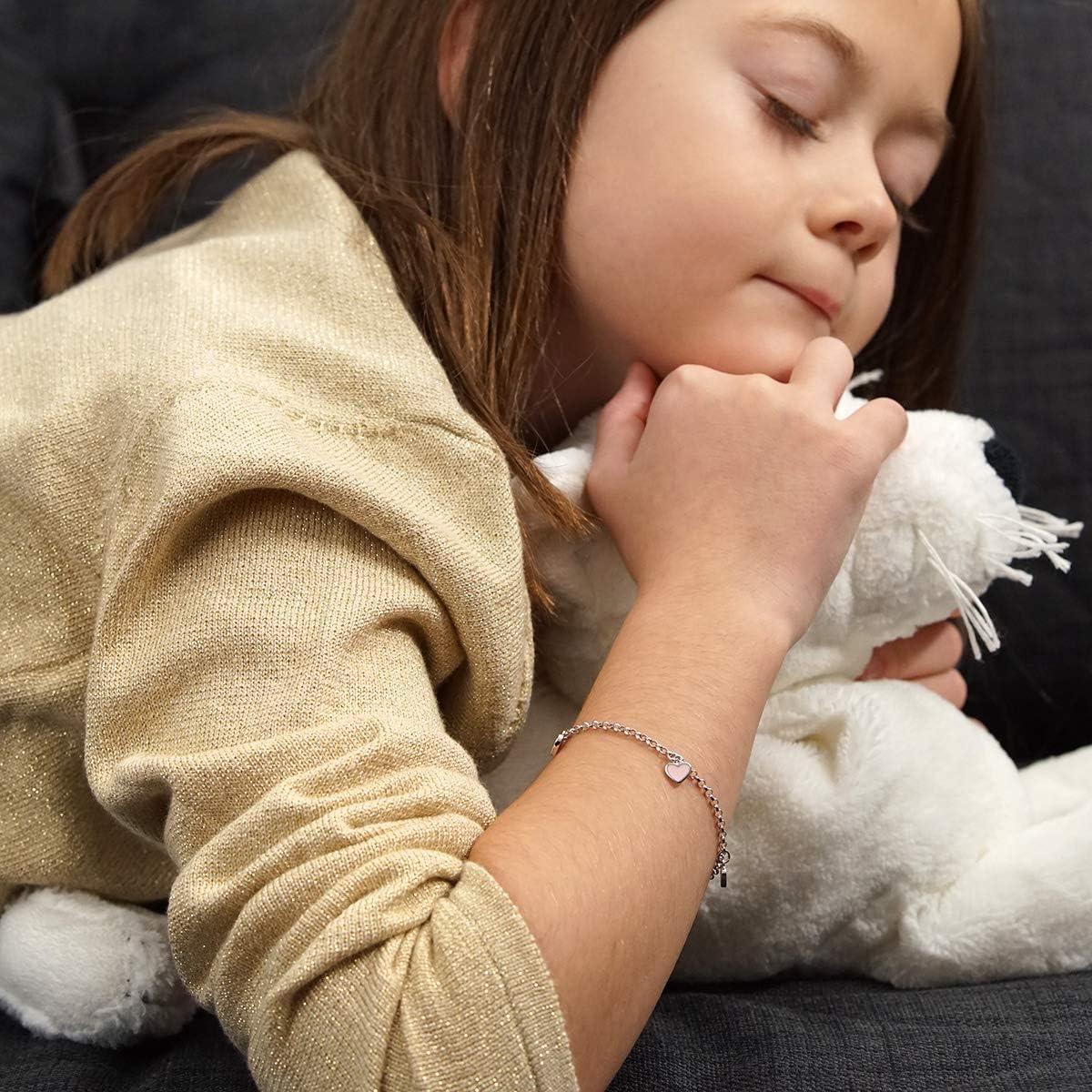 Materia Bracelet pour enfant avec gravure en argent sterling 925 avec c/œur rose 12-14 cm r/églable dans un /étui