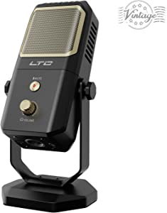 USB Microphone, LTC Encore MPE-01 Metal Stand Condenser Microphone, 4 Pickup Patterns, Professional Grade Mic for Studio Recording Vocals, Streaming Broadcast and YouTube Videos - Black