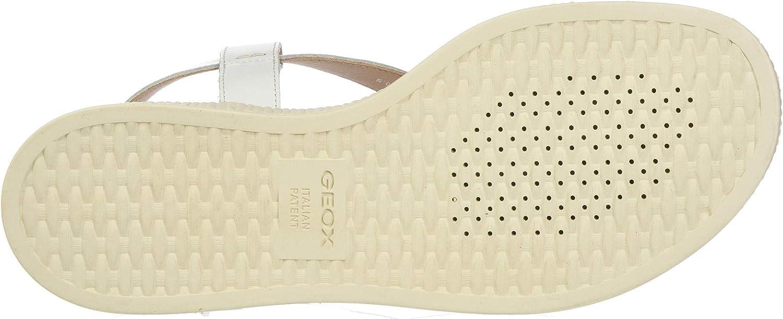 Geox D Hiver B, Sandali con Chiusura a T Donna Bianco White C1000