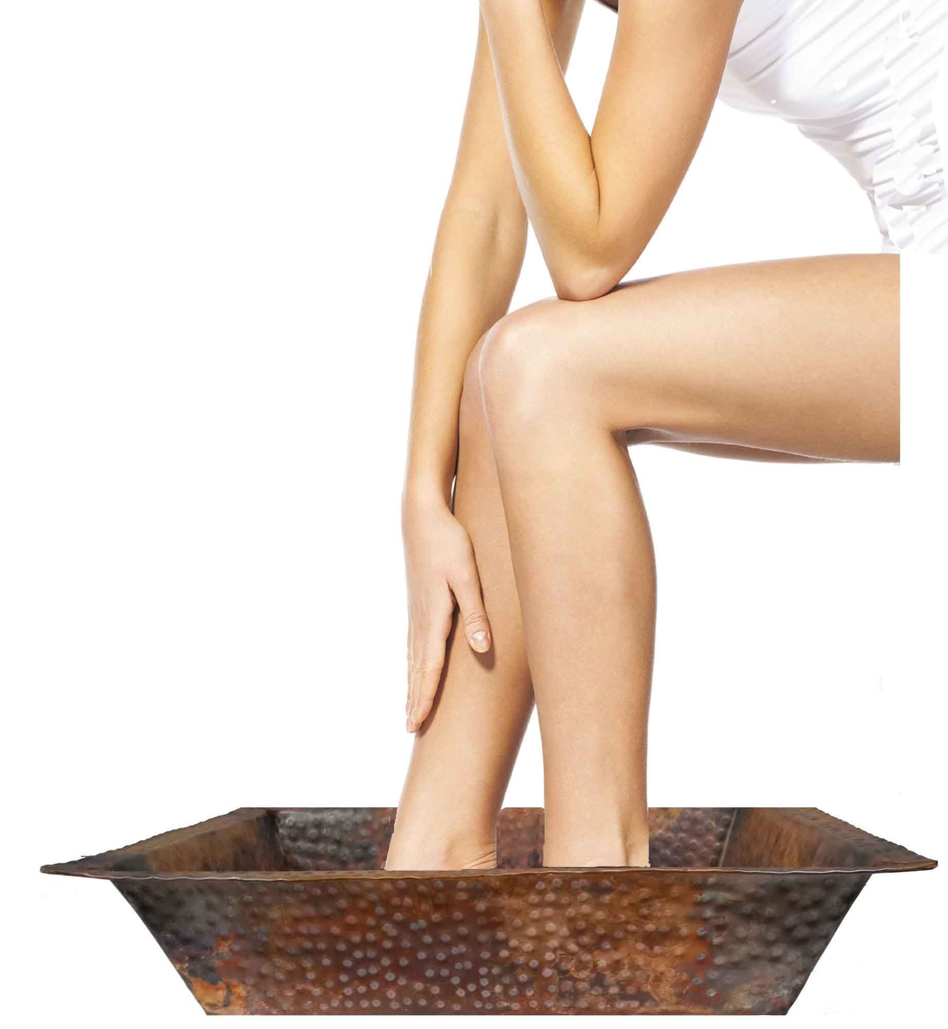 Shallow Rectangle Fire Burnt Foot Wash Soaking Massage Spa Pedicure Flat Lip Bowl by Egypt gift shops by Egypt Gift Shops