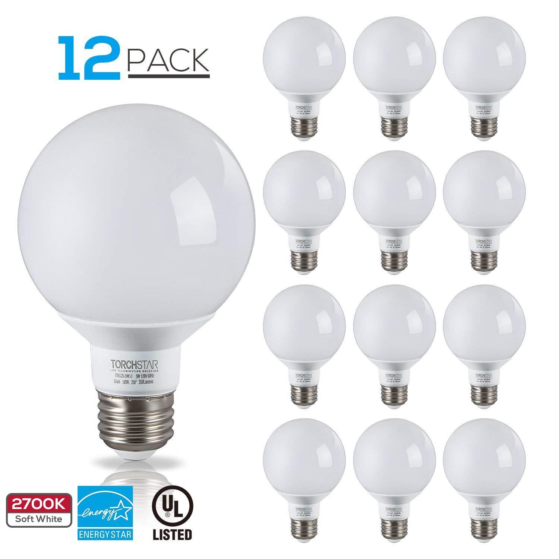 TORCHSTAR 12 Pack - UL & Energy Star Listed - 5W 40W Equiv. G25 LED Bulb, Globe Vanity Light, 2700K Soft White, Medium E26 Base, Omnidirectional Bulb for Bath, Pendant, Dressing Room & Vanity Strip