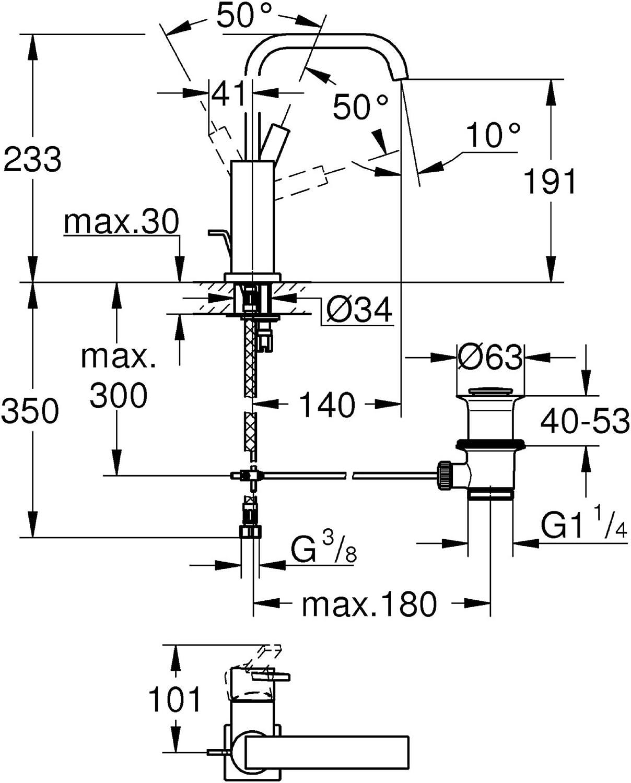 GROHE Allure Badarmaturen-Einhand-Waschtischbatterie (DN 15, L-Size,  Einlochmontage) chrom, 32146000