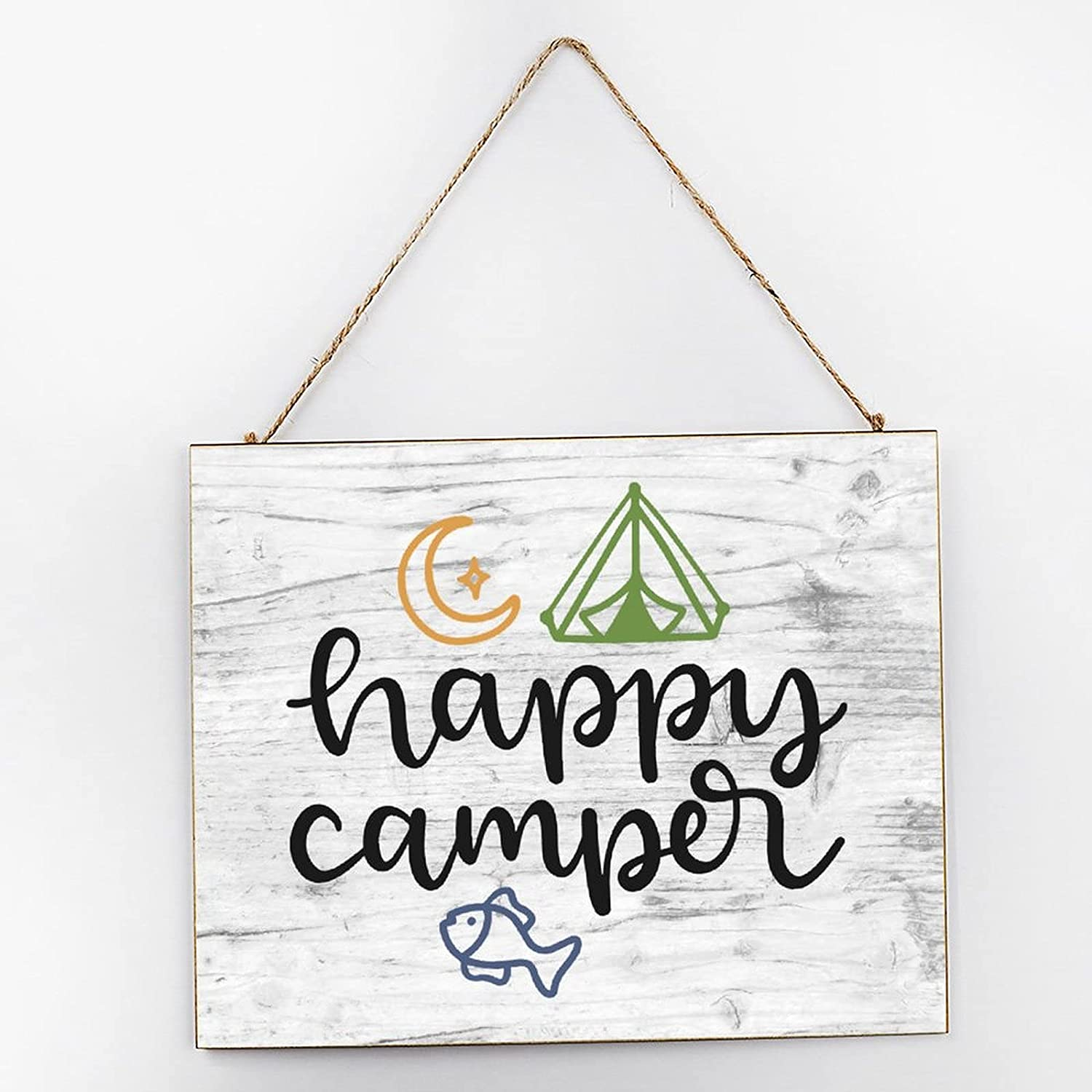 EricauBird Happy Camper Farmhouse Hanging Wood Sign Camping Adventure Quote Wood Plaque 10x12 Rustic Wall Decor Wall Art for Indoor Outdoor