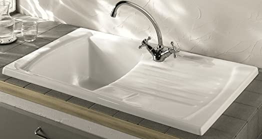 LUNA CERAMIC 1.0 BOWL AND DRAINER KITCHEN SINK WHITE: Amazon.co.uk ...