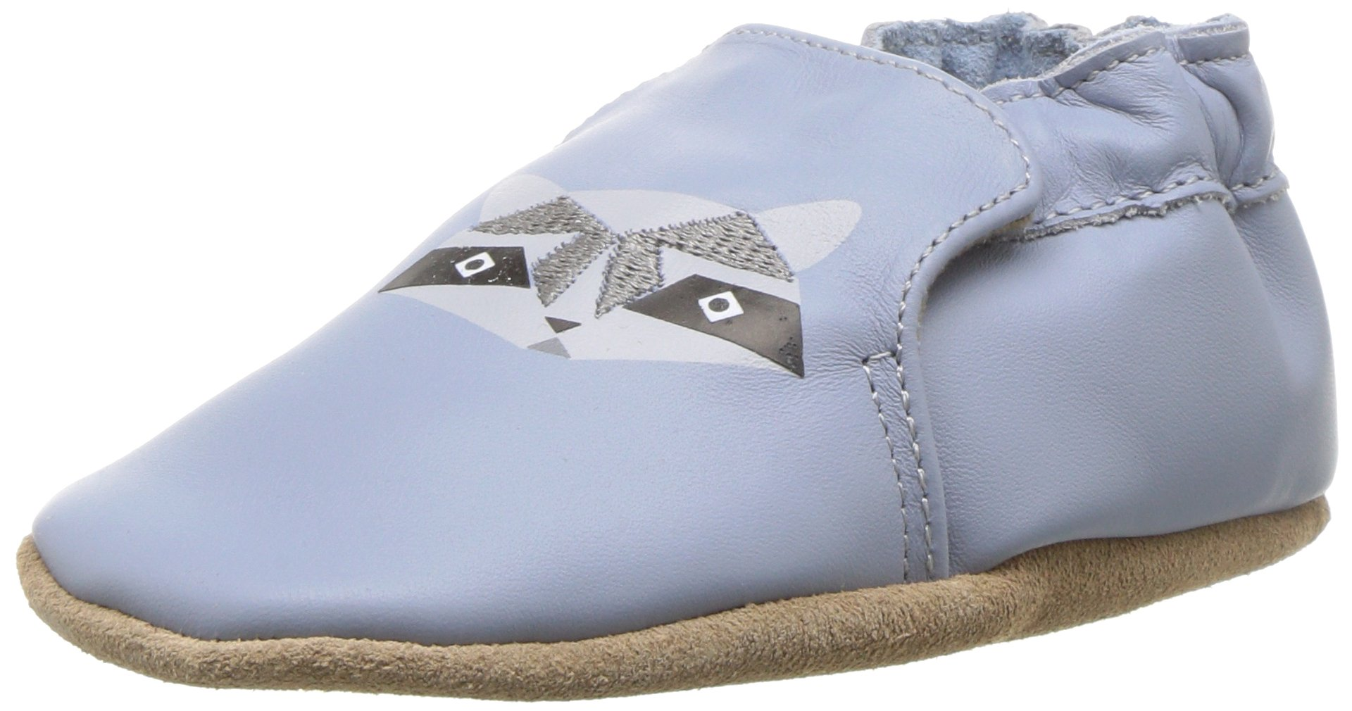 Robeez Boys' Soft Soles Crib Shoe, Raccoon Buddies Blue, 6-12 Months M US Infant by Robeez