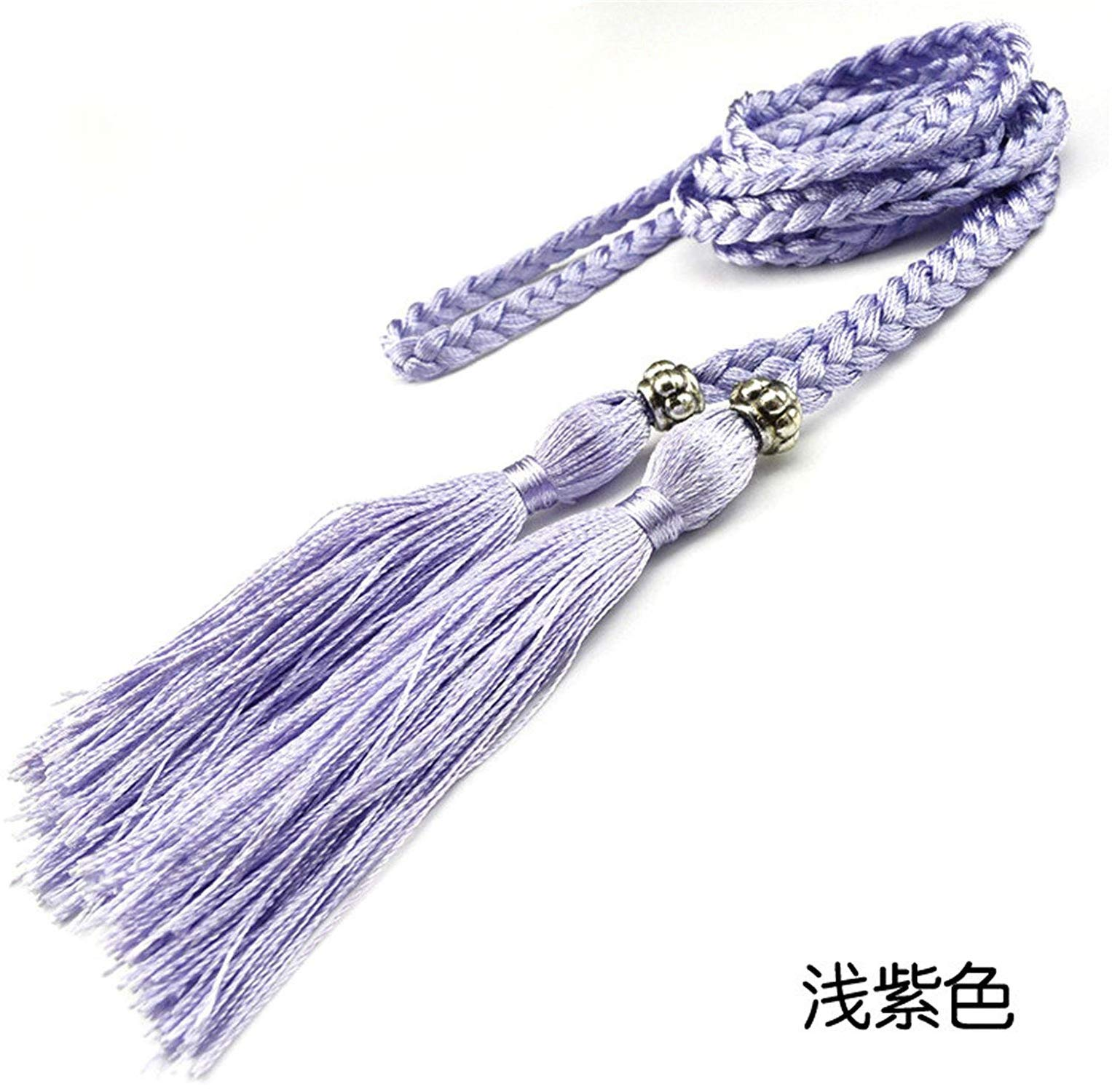 Beautface Makeup Fashion Womens Braided Belt Bowknot Rope Fine Woven Ladies With Tassels,160cm,Lavender