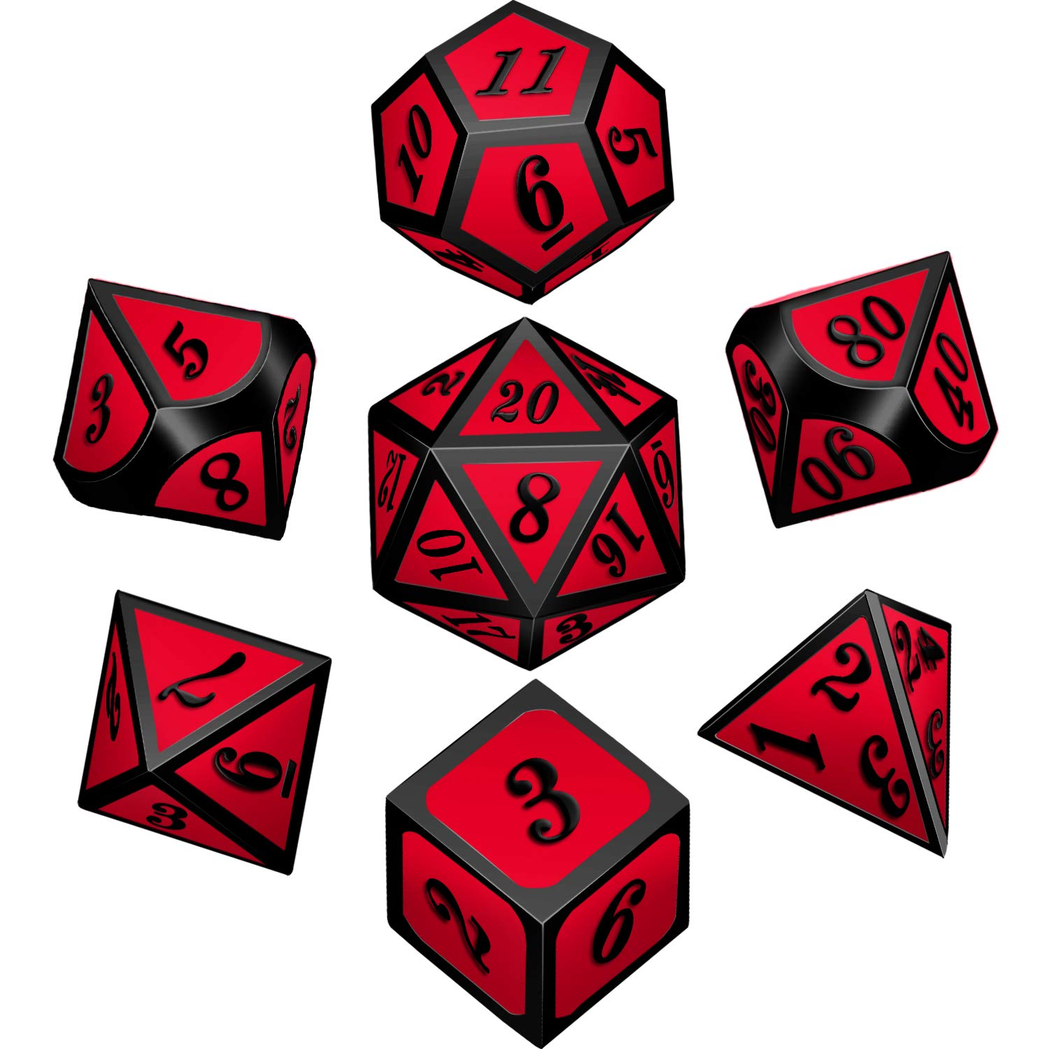 Bememo Polyhedral Metal Dices Set Zinc Alloy with Enamel Solid Metal for DND Game, Tabletop RPG, Dungeons and Dragons, Math Teaching, 7 Pieces Dice Set with Black Velvet Bag (Black Nickel Red) by Bememo