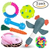 Dog Toys, 6 Pack Sets for Dogs Include 3 Molar Toy 2 Squeak Plush Dog Toys and Dog Balls