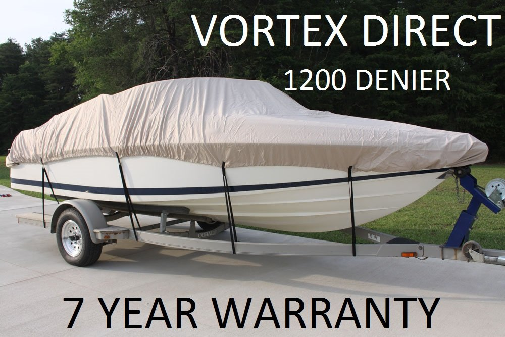 VORTEX 1200D SUPER HEAVY DUTY 17' - 19'TAN/BEIGE , VHULL/FISH/SKI/RUNABOUT BOAT COVER/HAS ELASTIC AND STRAPS FITS 17' TO 18' TO 19' FT LENGTH, UP TO 96'' BEAM (FAST SHIPPING - 1 TO 4 BUSINESS DAY DELIVERY)