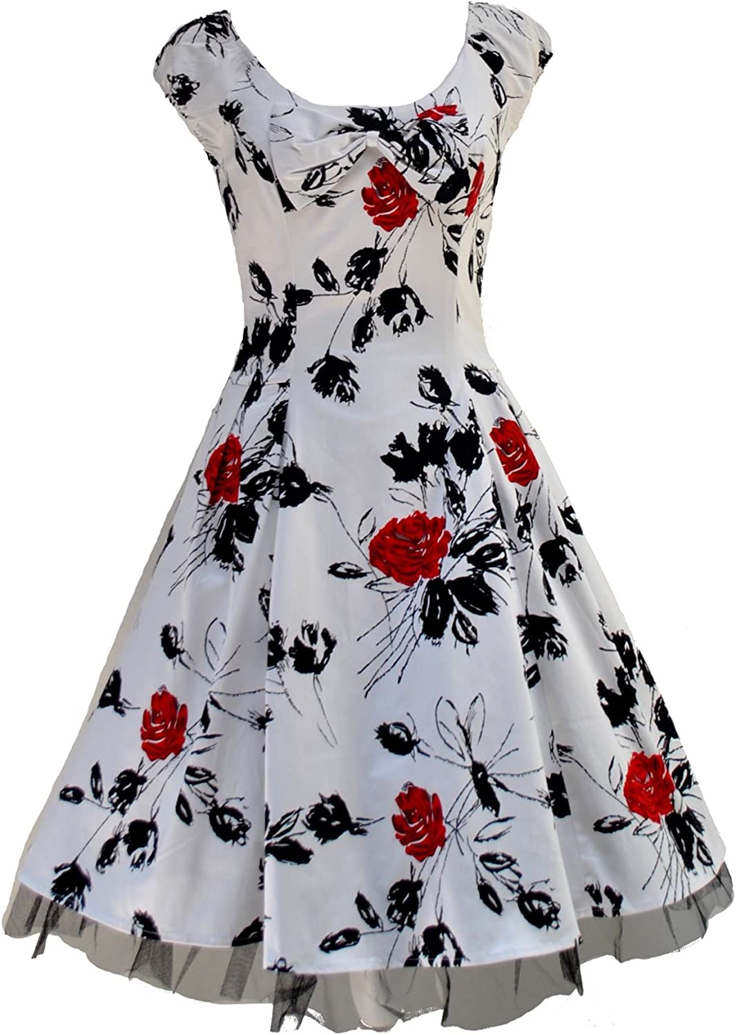 Womens 40s 50s Vintage Style Black Floral Bow Detail Jive Swing Dress New 8-18