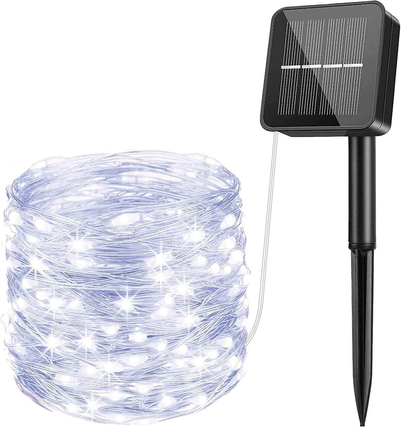Solar String Lights Outdoor 85Ft 240 LED USB/Solar Powered Waterproof Garden Lights with 8 Lighting Modes Solar Fairy Lights for Indoor/Outdoor, Cool White