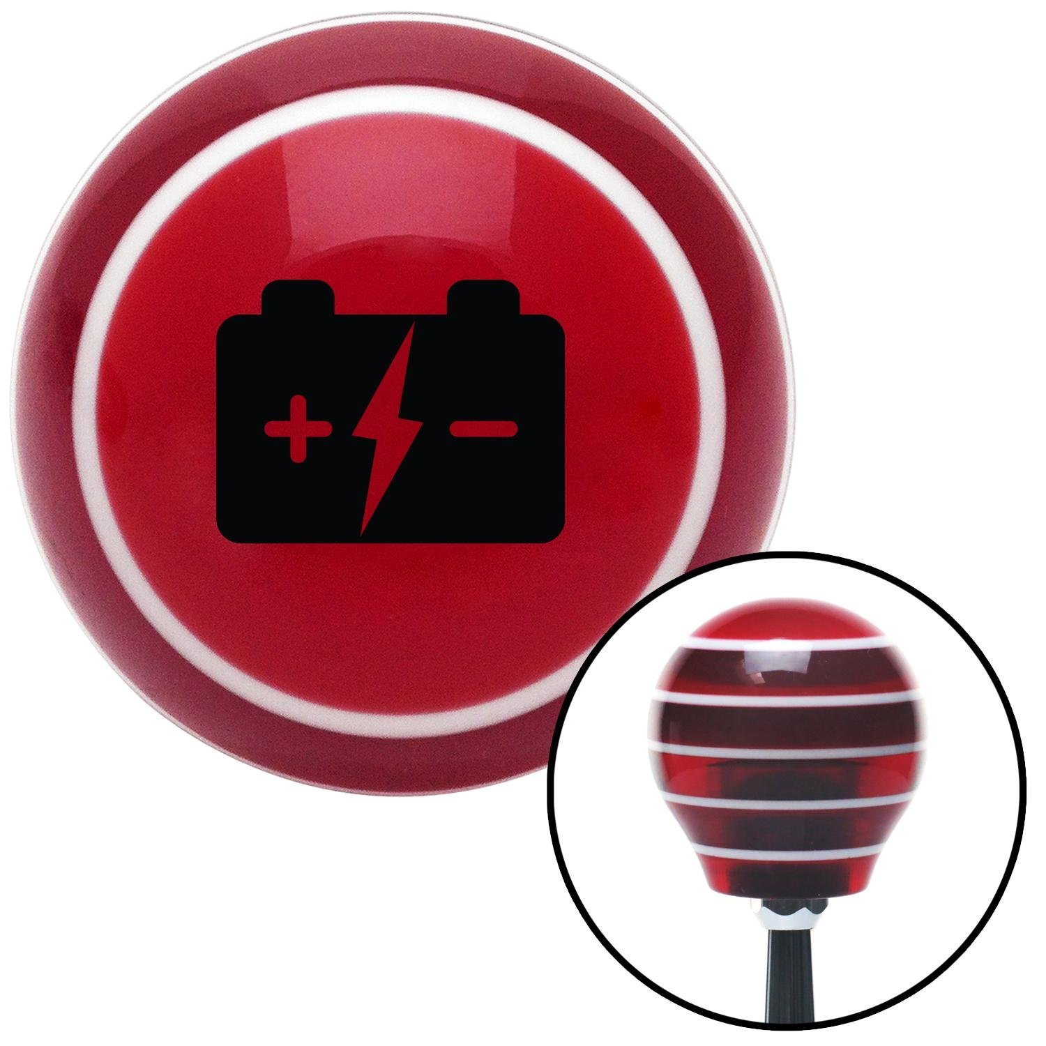 Black Battery Charge Symbol American Shifter 112094 Red Stripe Shift Knob with M16 x 1.5 Insert