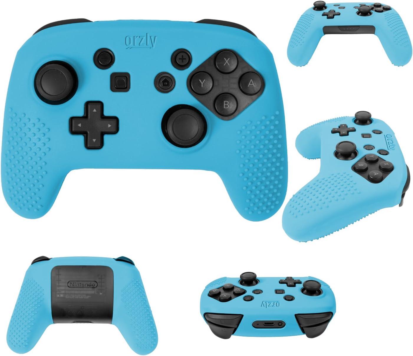 Funda para el Mando Pro Controller – FlexiCase de Orzly para los Mandos Pro Controller de la Nintendo Switch – Carcasa Protectora para mayor agarre [Funda Duradera, Ligera y Flexible en AZUL