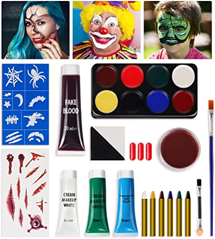 Halloween Packs Sets Kids Childrens Make Up Face Paint Spiders /& White Webs