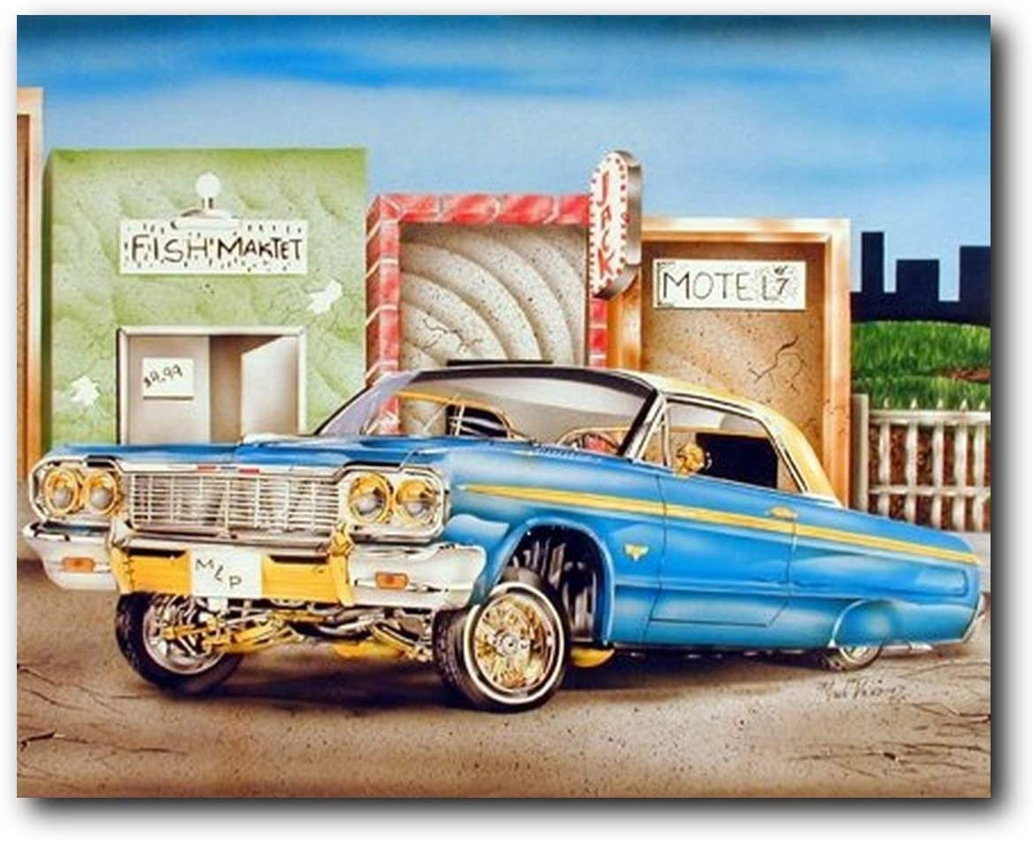 Amazon.com: Classic Vintage Car Wall Decor Blue & Gold Lowrider ...