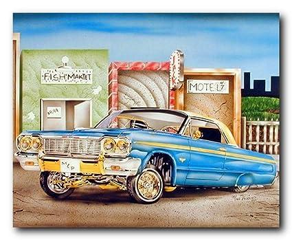 Amazon.com: Classic Vintage Car Wall Decor Blue & Gold Lowrider Art ...