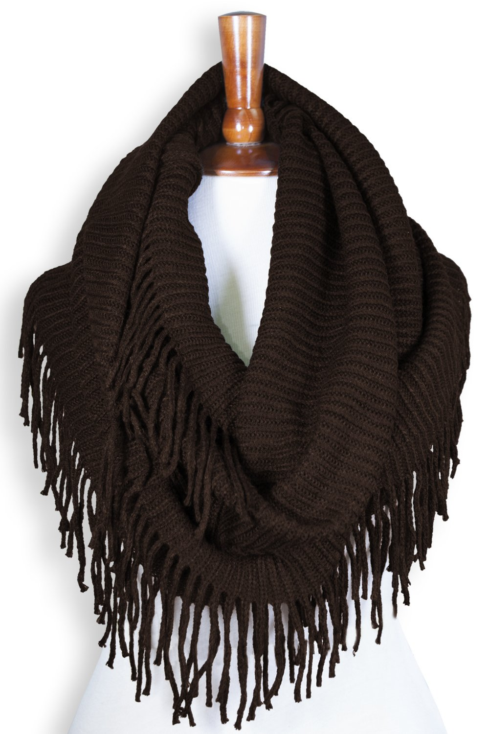 Basico Women Winter Warm Knit Infinity Scarf Tassels Soft Shawl Various Colors (Type G-Coffee)