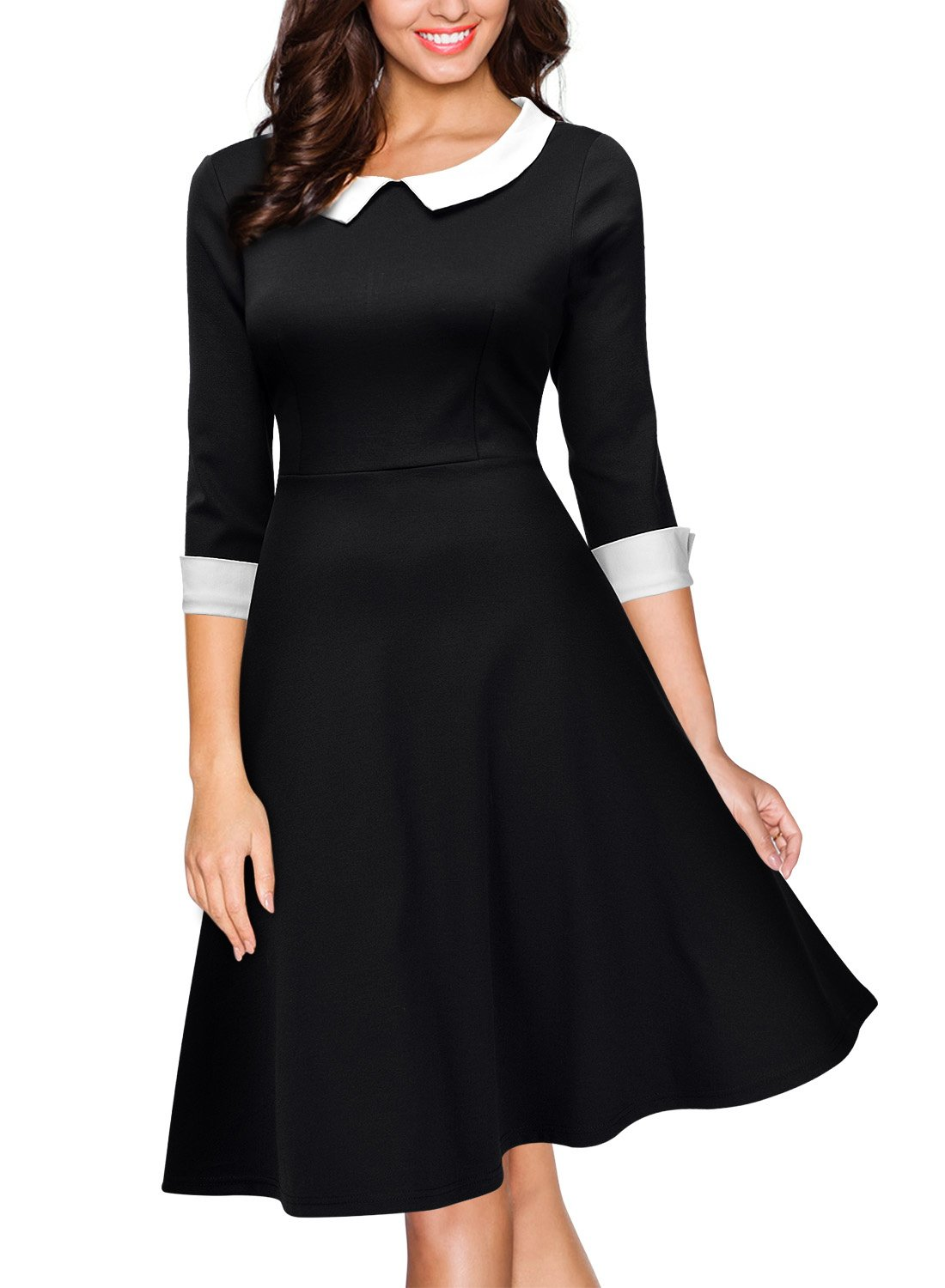 Miusol Women's Formal Polo Neck Navy Style Party Swing Dress,Black,Small