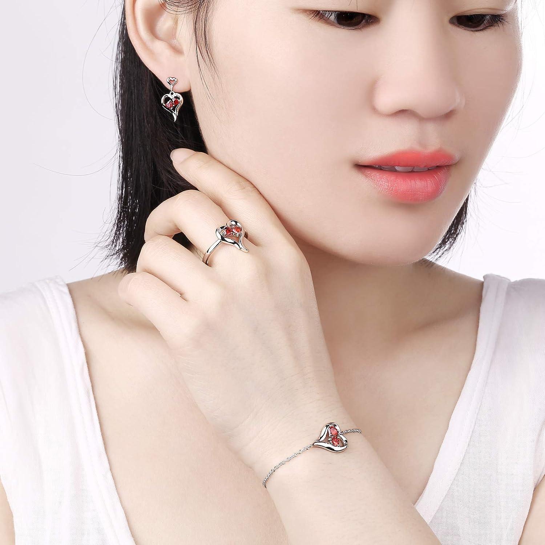 Newshe Heart Created Red Ruby Ring Bracelet Stud Earrings Jewelry Set 925 Sterling Silver Cz Size 5-10