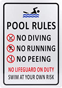 Kichwit Pool Rules Sign, No Diving No Running No Peeing No Lifeguard on Duty Sign, Aluminum, Weather Resistant, 9.4 x 13.4 Inches
