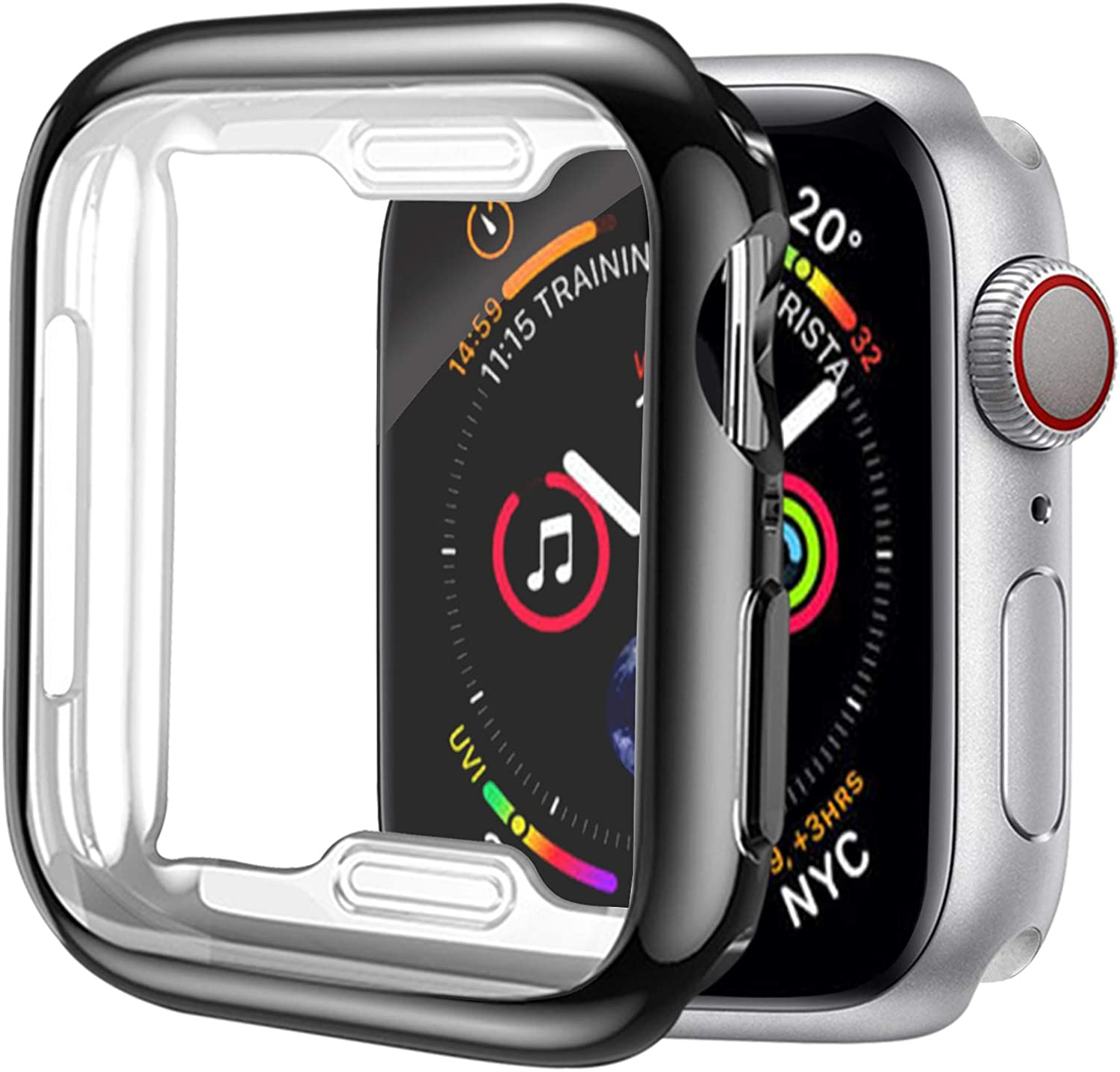 [1 Pack] ALADRS Screen Protector Case for Apple Watch 44mm, Full Protective HD Ultra-Thin Cover Compatible with iWatch Series 4 Series 5 Series 6 SE Bumper Case, Black
