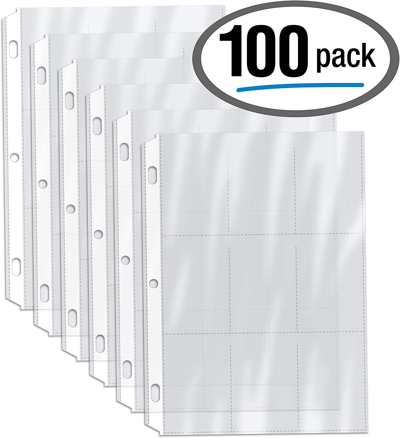 100/Kasten Clear Heavyweight Trading Card Sleeve Pages, 9 Pockets Per Sheet, 900 Pockets, 3 Ring Binder Sheets, durch Gold Seal, 100 Count