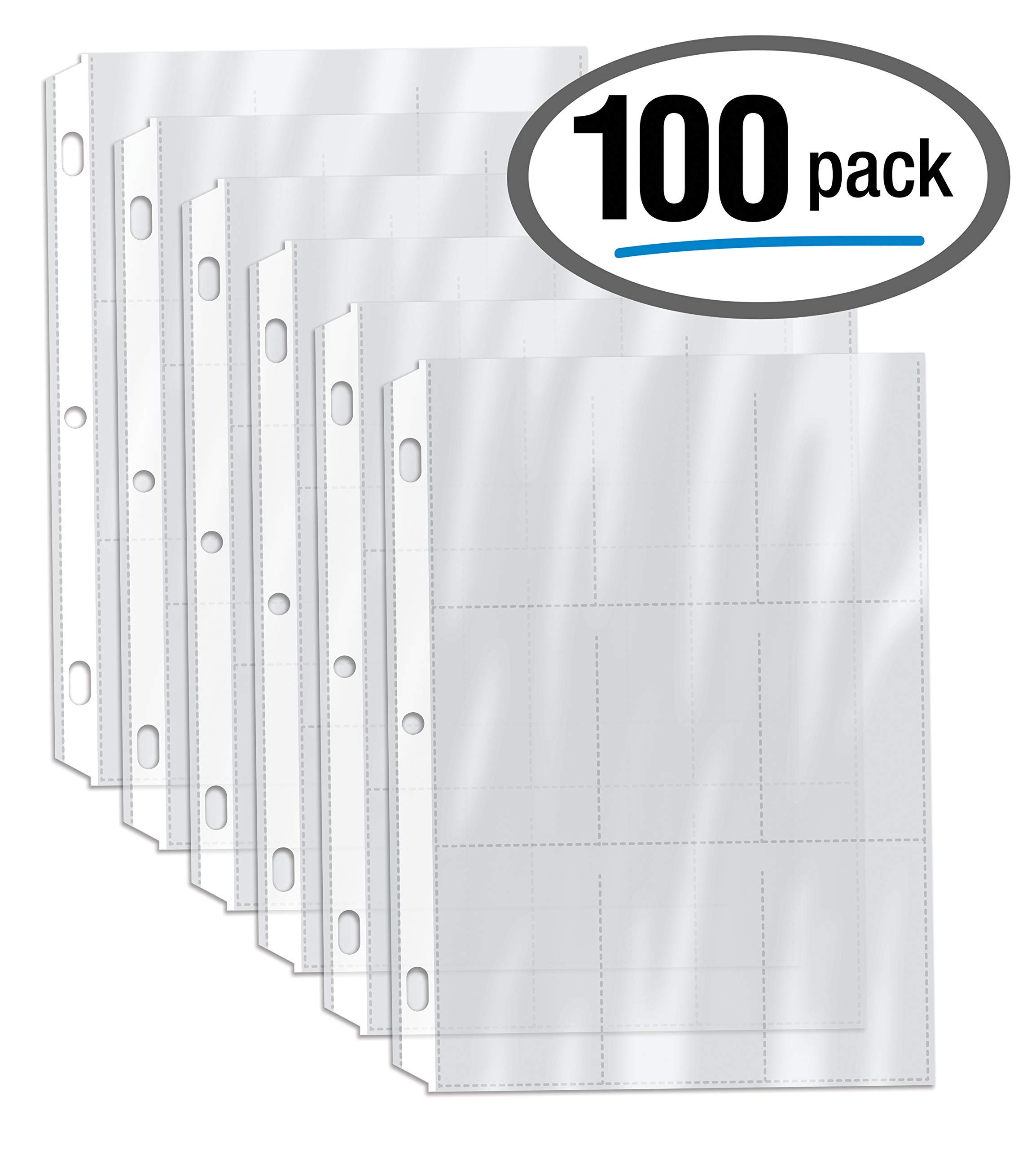 100/Box Clear Heavyweight Trading Card Sleeve Pages, 9 Pockets Per Sheet, 900 Pockets, 3 Ring Binder Sheets, by Gold Seal, 100 Count by GOLD SEAL