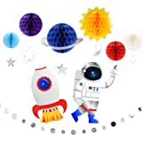 9Pcs Outer Space Decorations Solar System Hanging Supplies Galaxy Planets Honeycomb Space Birthday Party Decor Ceiling Orname