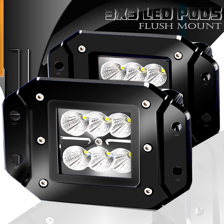 Turbo 18W フラッドLED ワークライト2個 3x3インチ デュアルフラッシュ クリー社製LED照明 ランプ デュアル D2 オフロード 4x4インチ 4WD ジープトラック F150 タコマ バンパー ホワイト TC-NBFS18GM B00Y2CJ95O 18W FLOOD 18W FLOOD