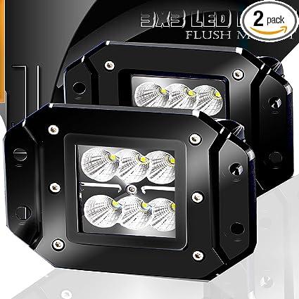 Amazon Com Turbo 2pcs Flood 3x3 Dually Flush Mount Led Light Lamps
