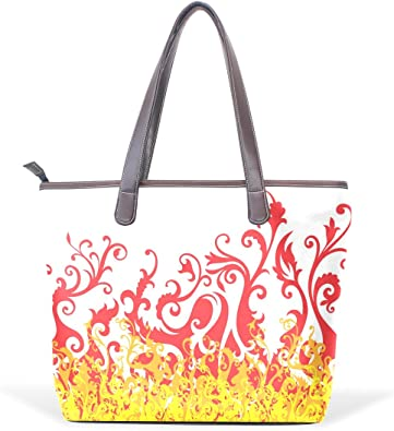 Mr.Weng Household Abstract Fire Texture Lady Handbag Tote Bag Zipper Shoulder Bag