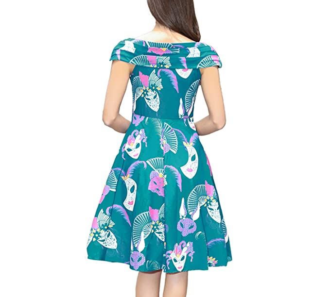 Fairy-Margot Women Summer Elegant Audrey Hepburn Floral Robe Retro Swing Casual Vintage Rockabilly Dresses at Amazon Womens Clothing store: