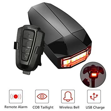 Luz trasera 3 en 1 OUTERDO para bicicleta, con alarma y timbre, carga USB, impermeable, inalámbrica