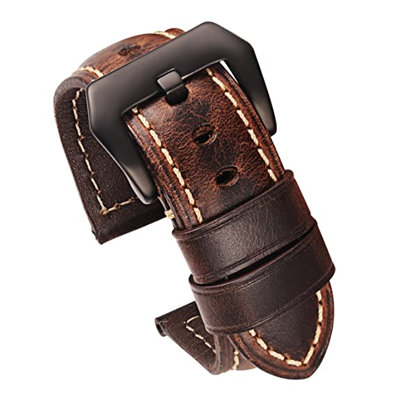 ef856e00f Carty Mens Watch Strap Oil Wax Calfskin Handmade Leather Watch Band 24mm  Coffee-Brown Brushed
