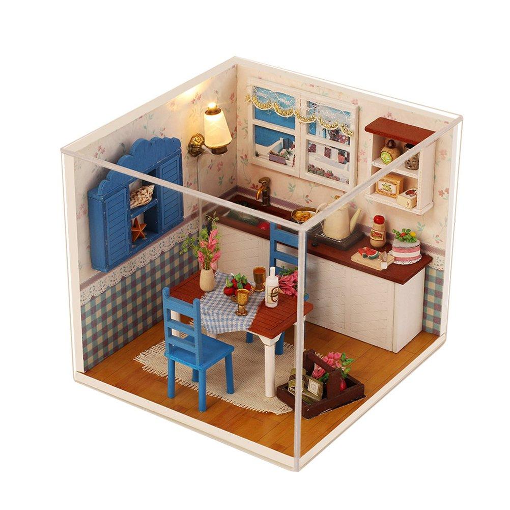 Amazoncom Dengguoli Cute Mini DIY Wooden Dollhouse