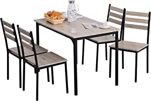 HOMCOM Modern 5-Piece Wooden Dining Kitchen Table Set 1 Table 4 Chairs Metal Legs Grey