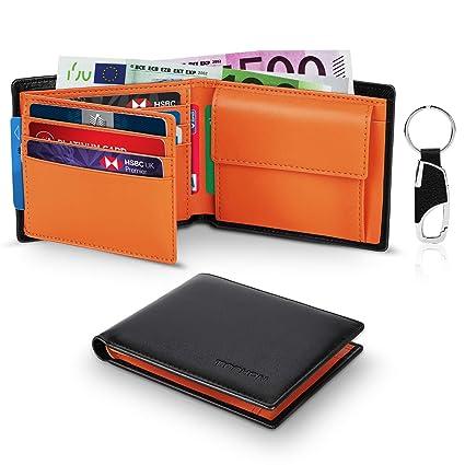 TEEHON Cartera para Hombre, Monedero con RFID Bloqueo con 10 Ranuras (9 Tarjetas + 1 ID), 2 Compartimentos para Billetes, 1 Bolsillo para Monedas con ...