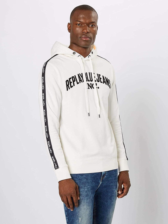 Replay Logo Tape Hoody Sweat-shirt blanc cassé M3921
