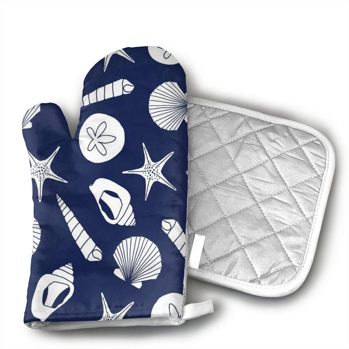 MEILVWEN Ocean Seashells Oven Mitt and Pot Holder Set,Heat Resistant for Cooking and Baking Kitchen Gift