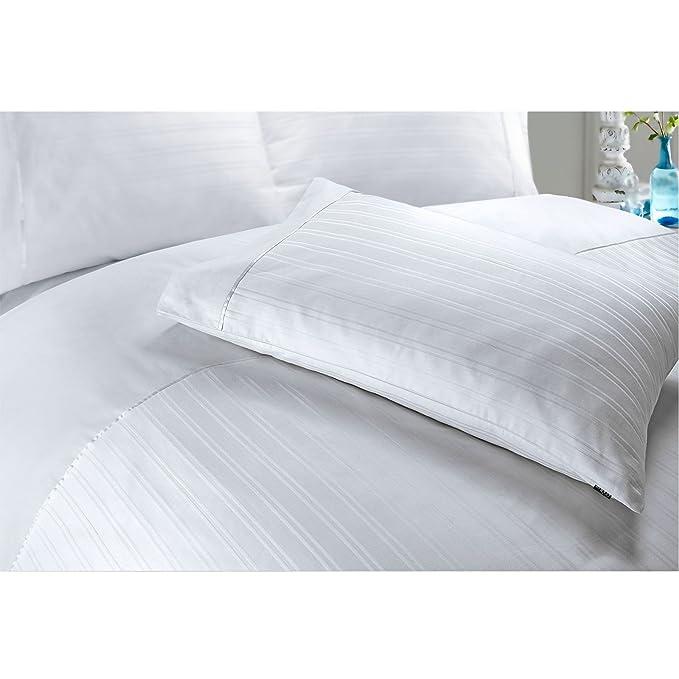 Juego de cama con funda nórdica de algodón egipcio satinado, diseño de rayas, algodón egípcio, Blanco, Doublé: Amazon.es: Hogar