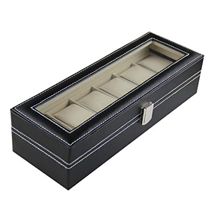 Amazoncom Sorbus Watch Box 6 Mens Black Leather Display Plexi