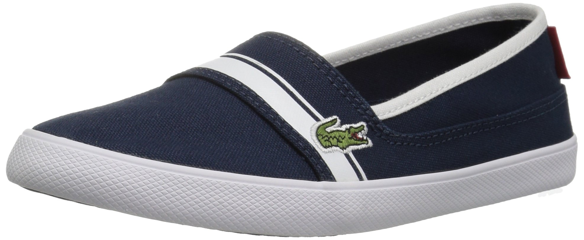 Lacoste Kids' Marice Slip-ONS,Navy/White Cotton Canvas,5 M US Big Kid