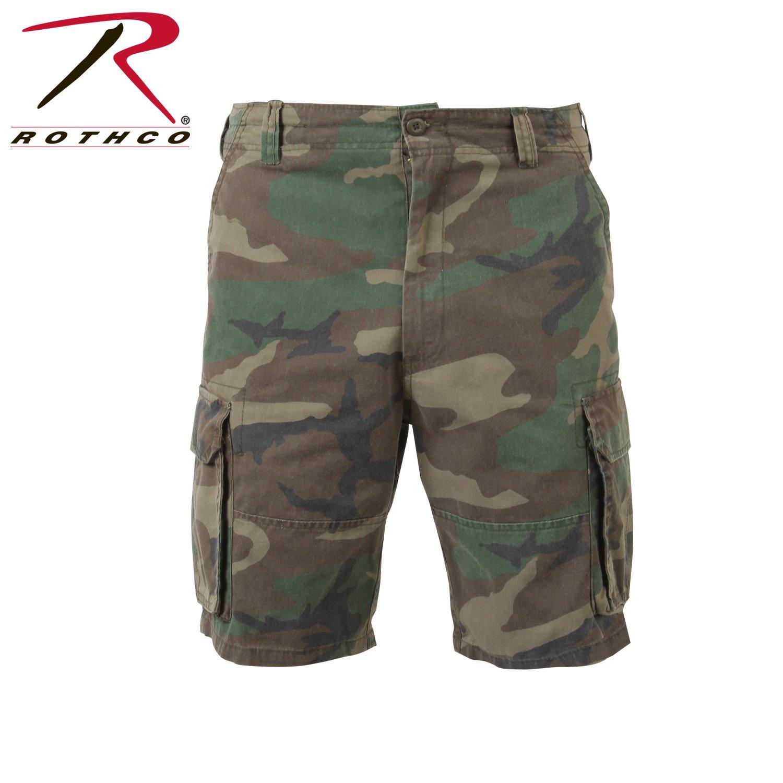 ROTHCO Paratrooper Mens Cargo Shorts Woodland Camo Size Small