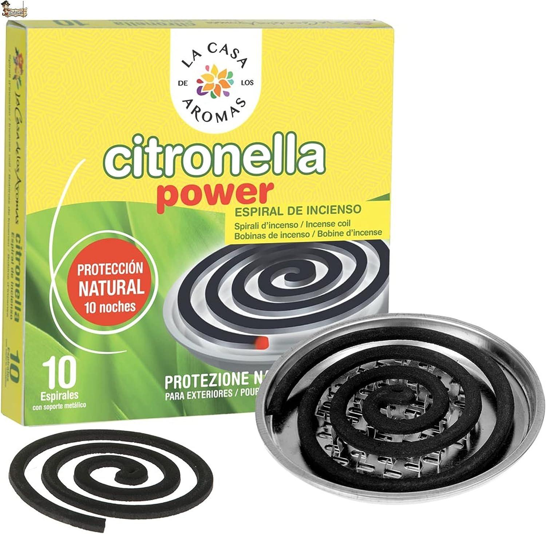 BricoLoco Incienso citronela Repelente antimosquitos en Espiral. 10 Unidades. Ambientador. Ahuyentar Mosquitos en Interior o Exterior. Protección Natural. Soporte metálico Incluido. (1)