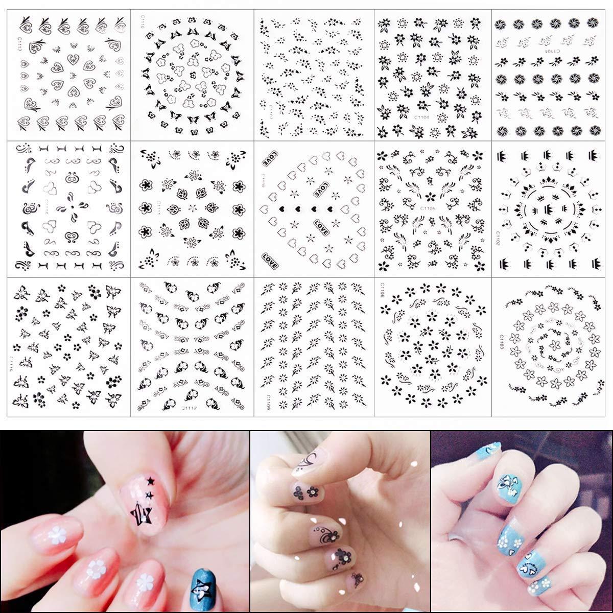 Pegatinas para Uñas, METALBAY 50 Hojas de 3D Arte Adhesivos de Uñas Etiquetas Engomadas del Clavo Decoración DIY de Manicura de Color Negro, Blanco, ...